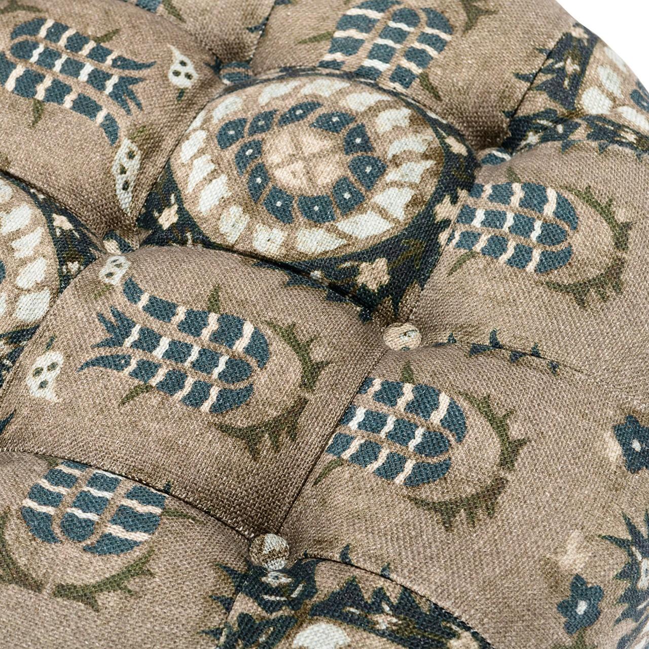 FEZ TUFTED STOOL - FLOURISH DAPPLE GREY Linen