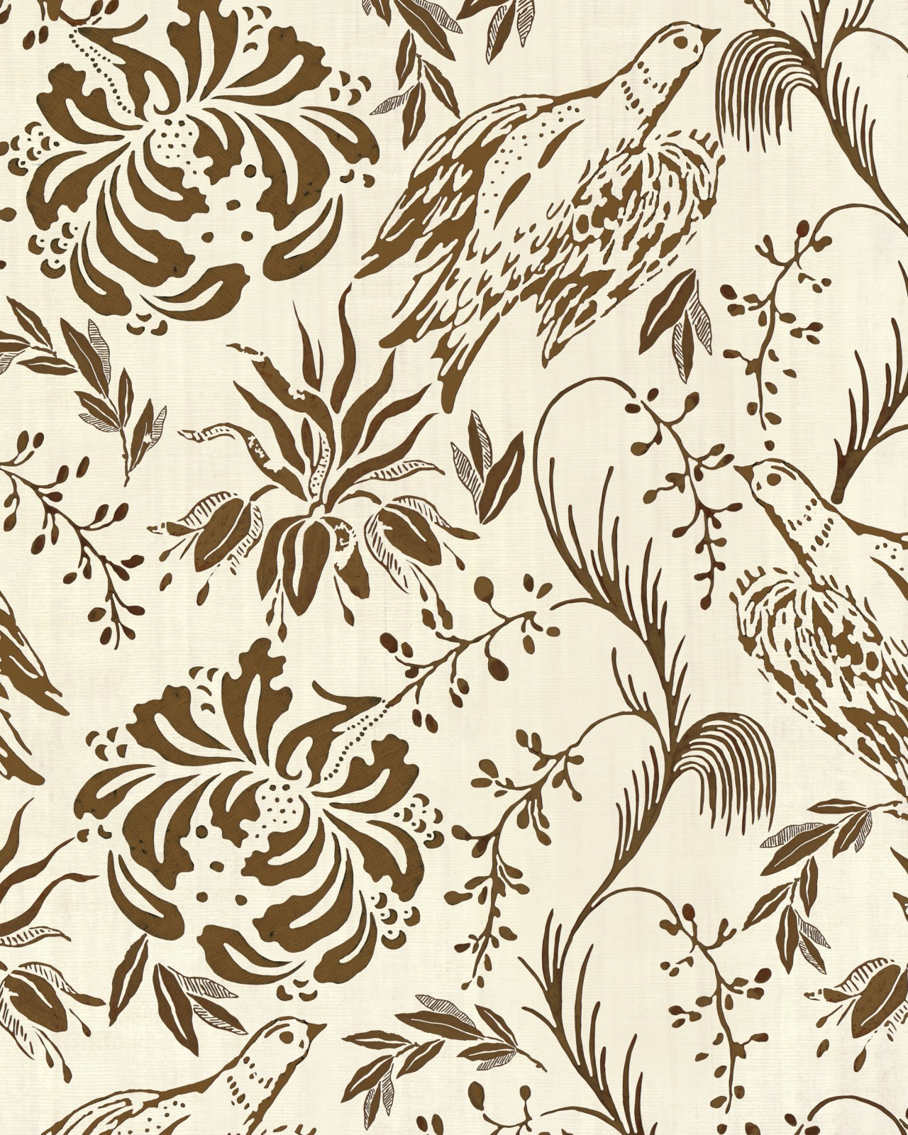 FOLK EMBROIDERY Tobacco Wallpaper