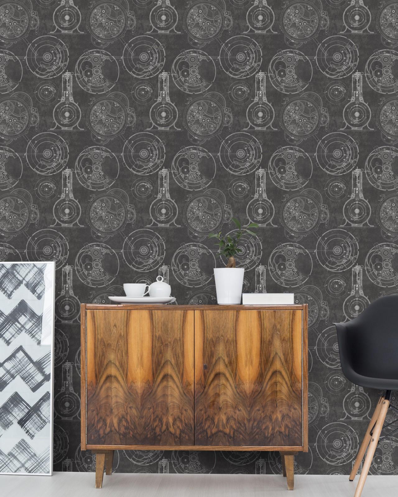 HORLOGERIE Anthracite Premium Wallpaper