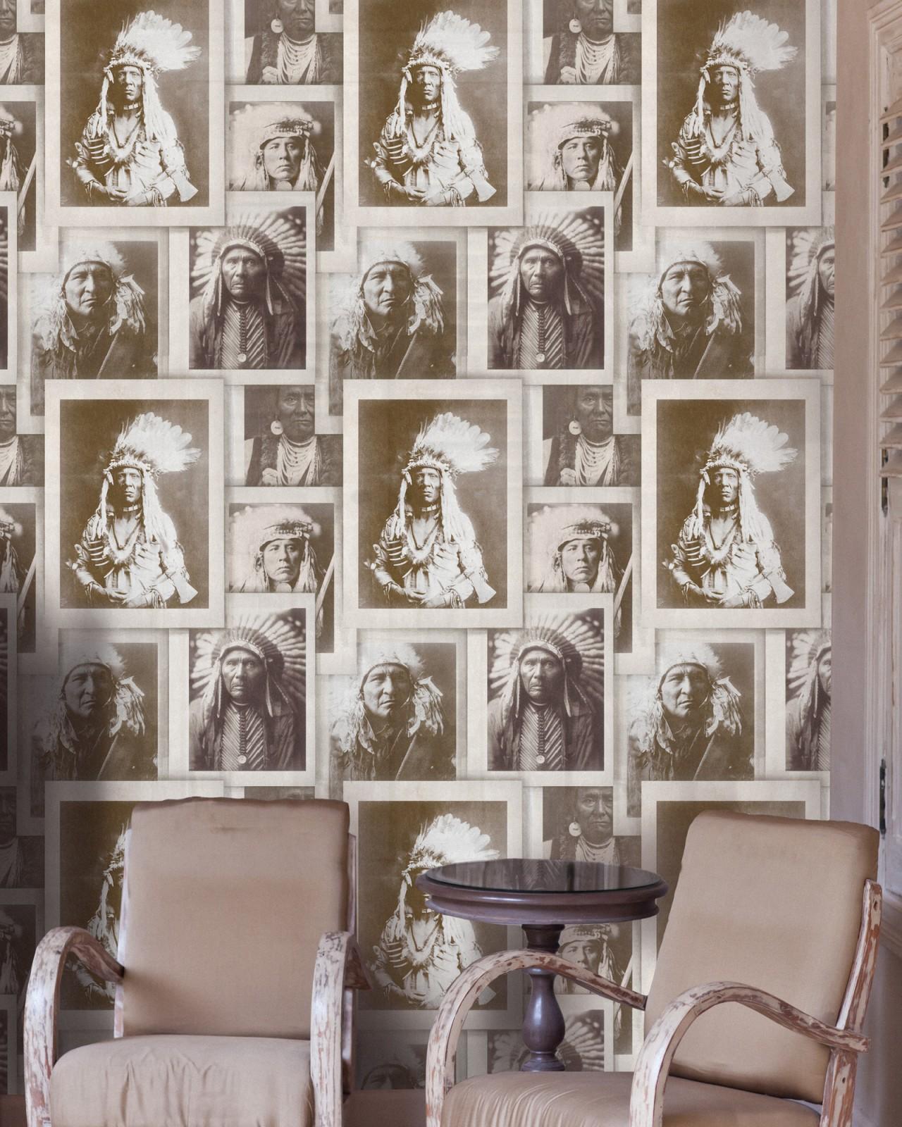 INDIAN CHIEFS Sepia Premium Wallpaper