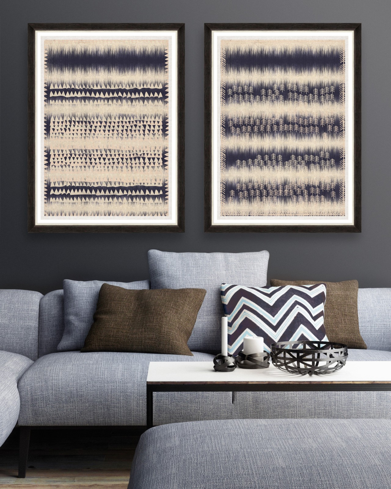 INDIGO PATTERNS Set of 2 Framed art