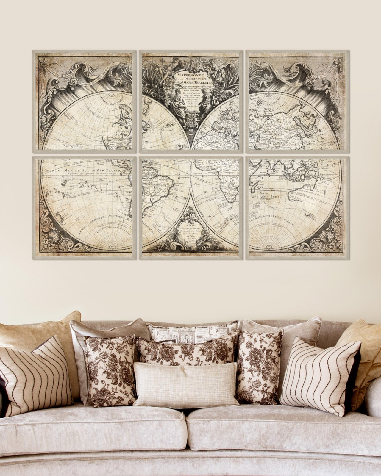 MAPPEMONDE Set of 6 Framed art