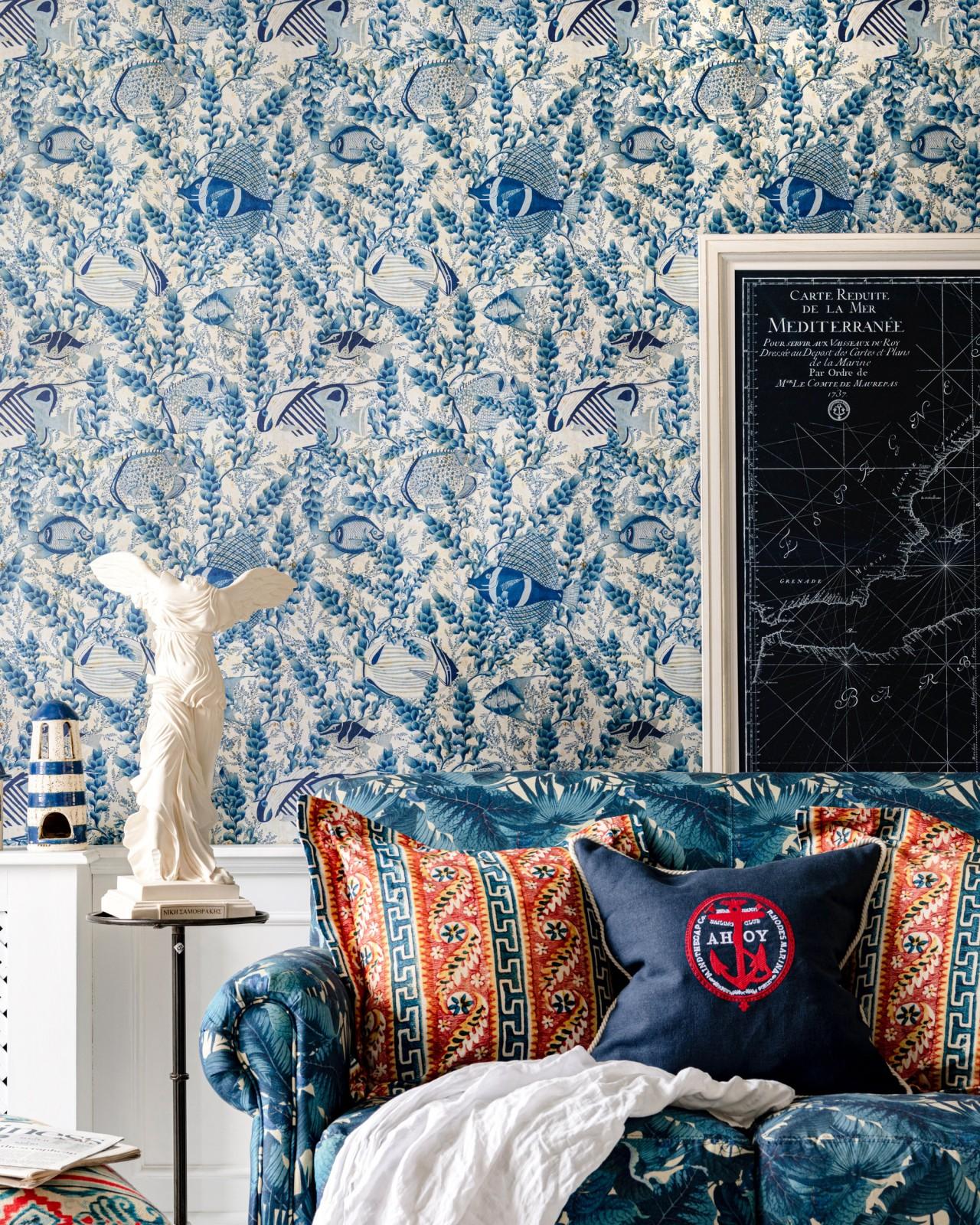 AQUARIUM Indigo Wallpaper