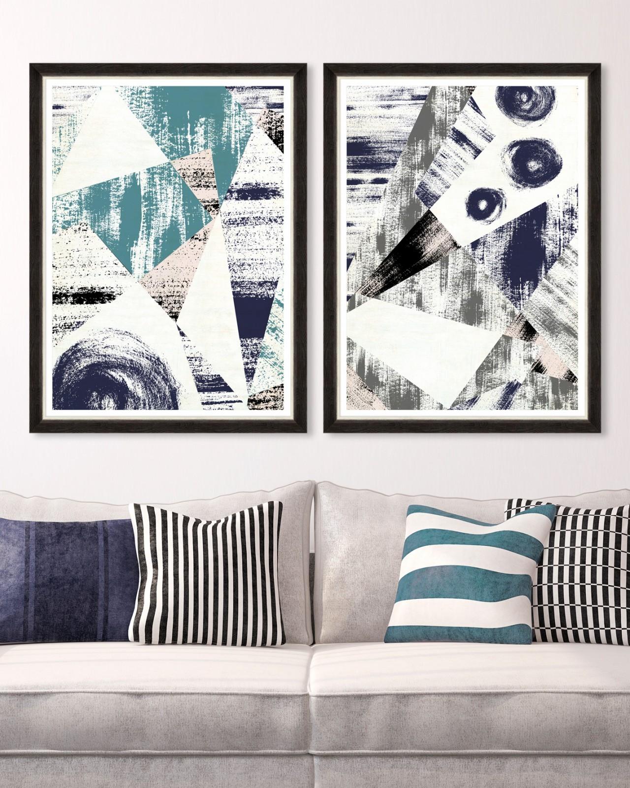 METALLIC STROKES Set of 2 Framed art