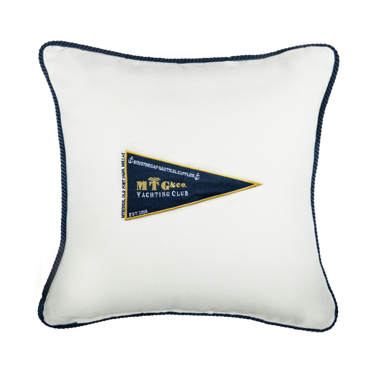 MTG YACHTING CLUB Linen Embroidered Cushion