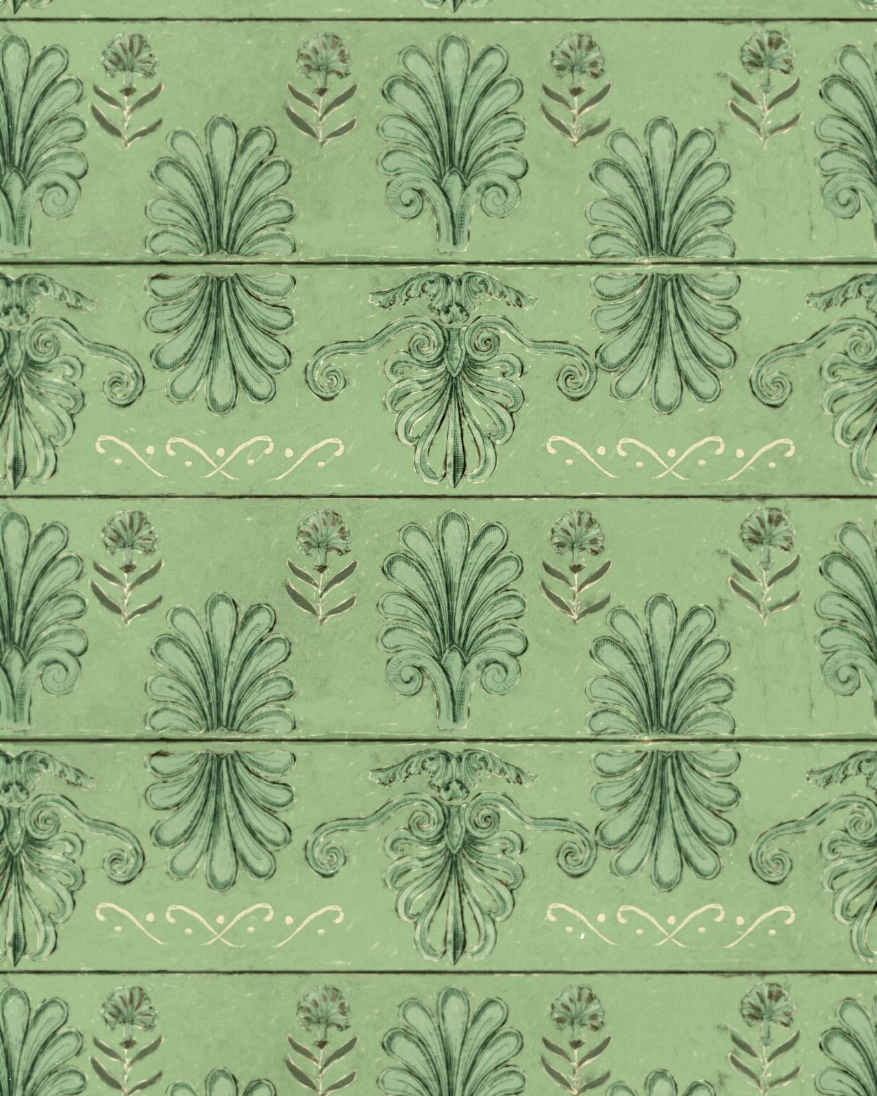 MYKONOS VILLA MOTIF Island Green Wallpaper