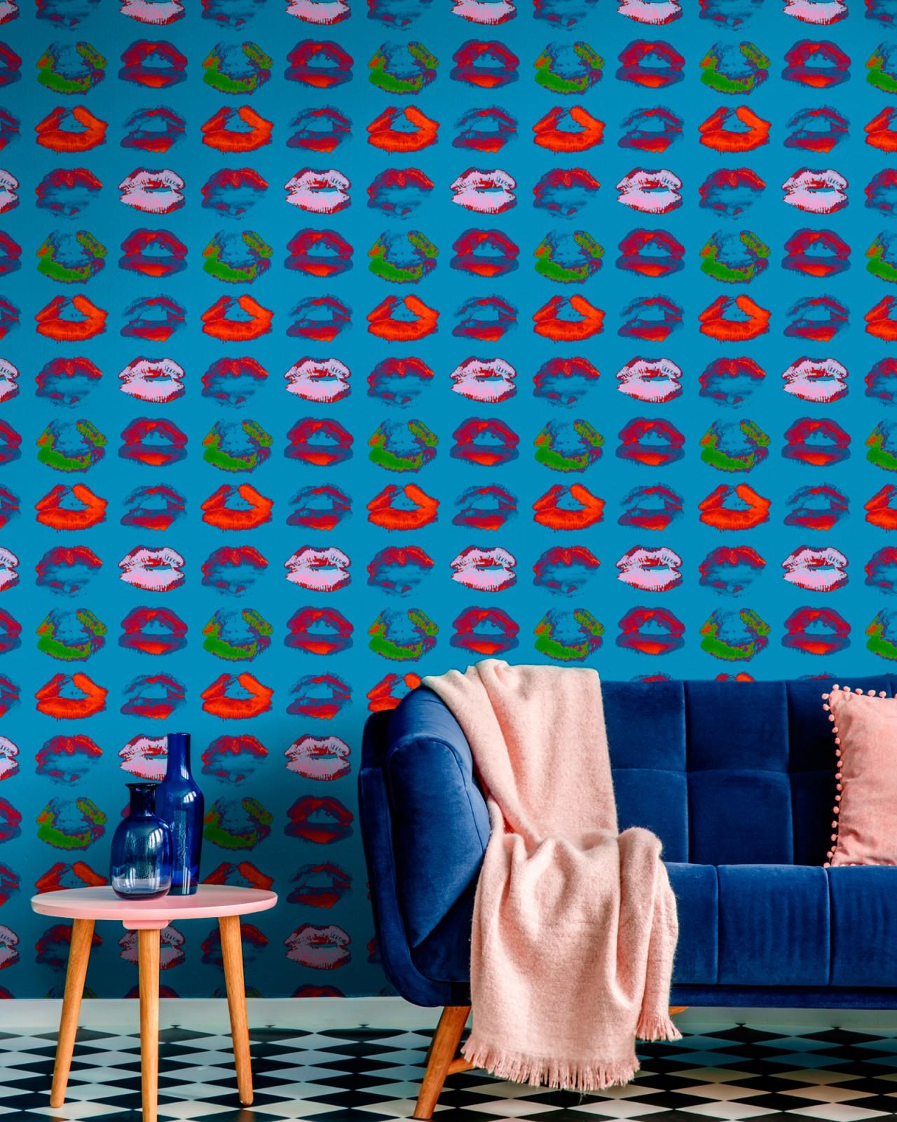NEON KISS Blue Wallpaper