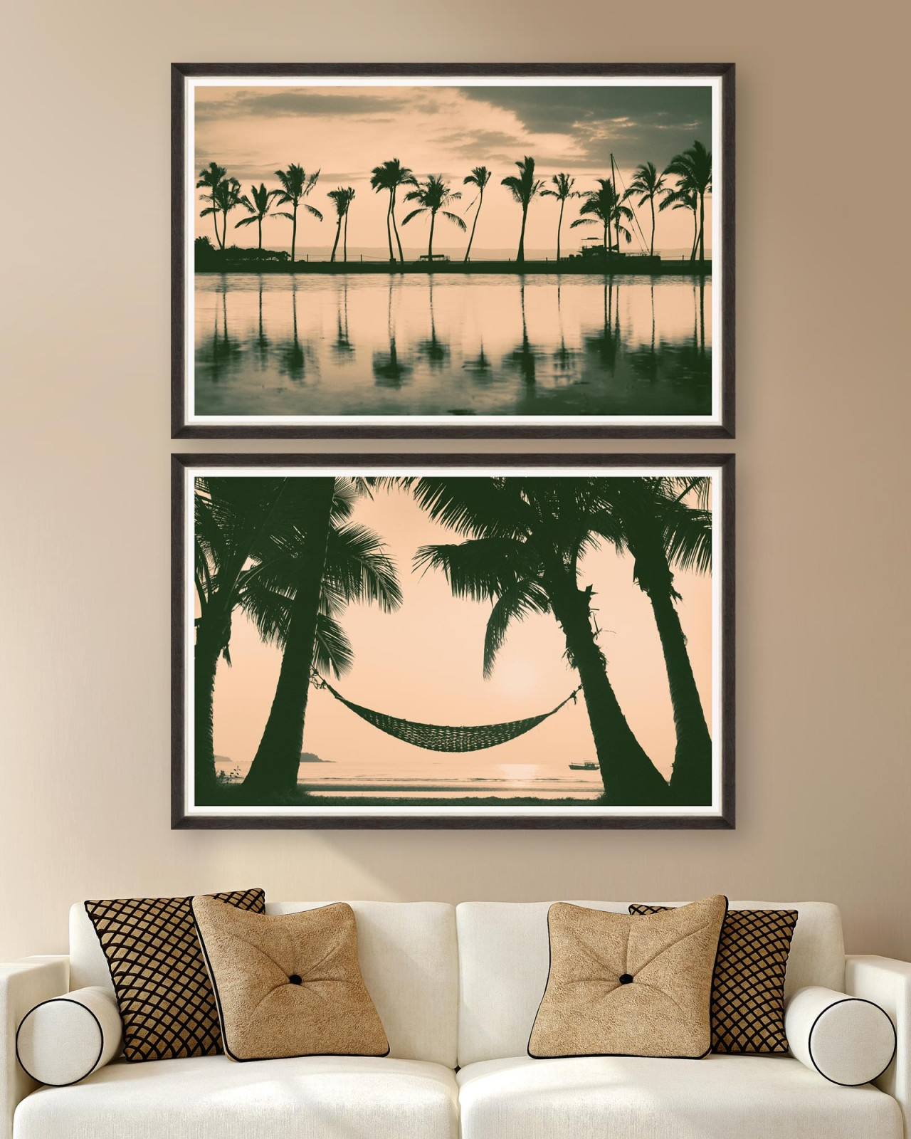 PALM TREES Set of 2 Framed art