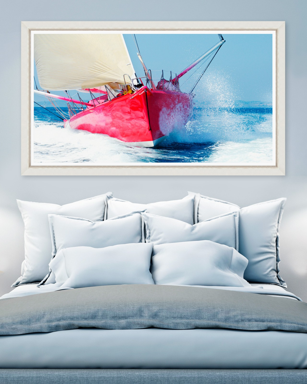RED SAILBOAT Framed Art