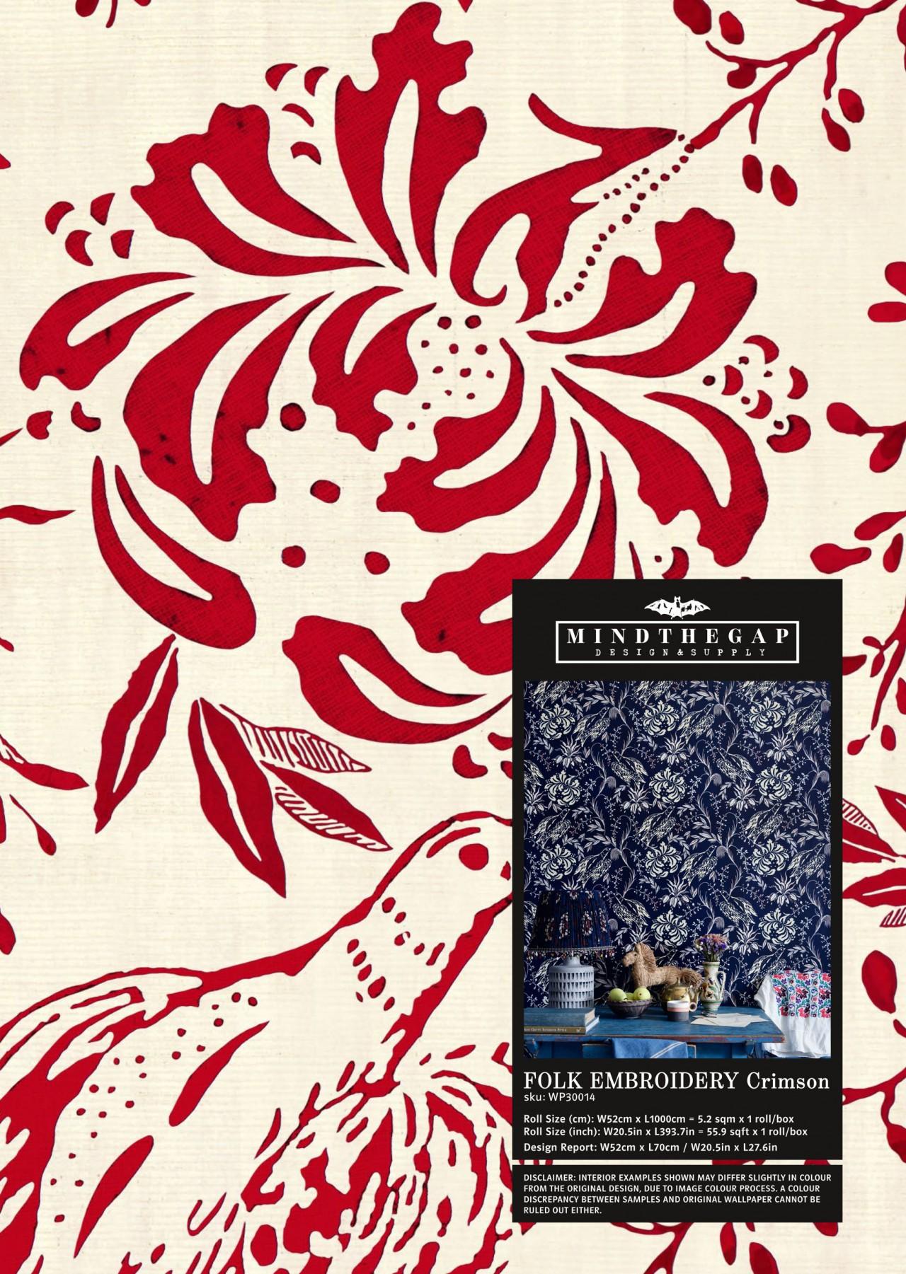 FOLK EMBROIDERY Crimson Wallpaper Sample
