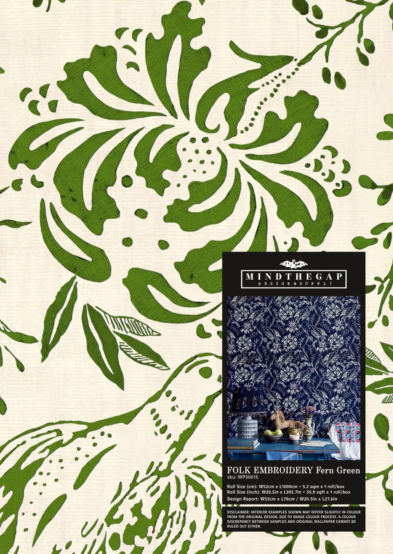 FOLK EMBROIDERY Fern Green Wallpaper Sample