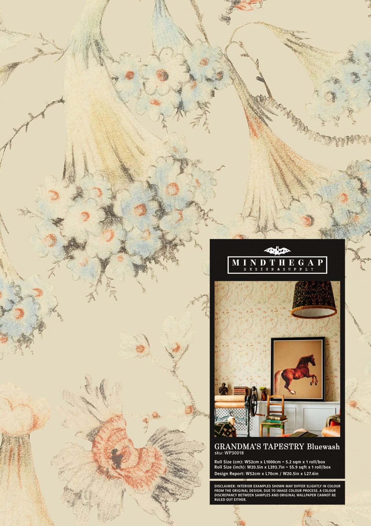 GRANDMA'S TAPESTRY Bluewash Wallpaper Sample