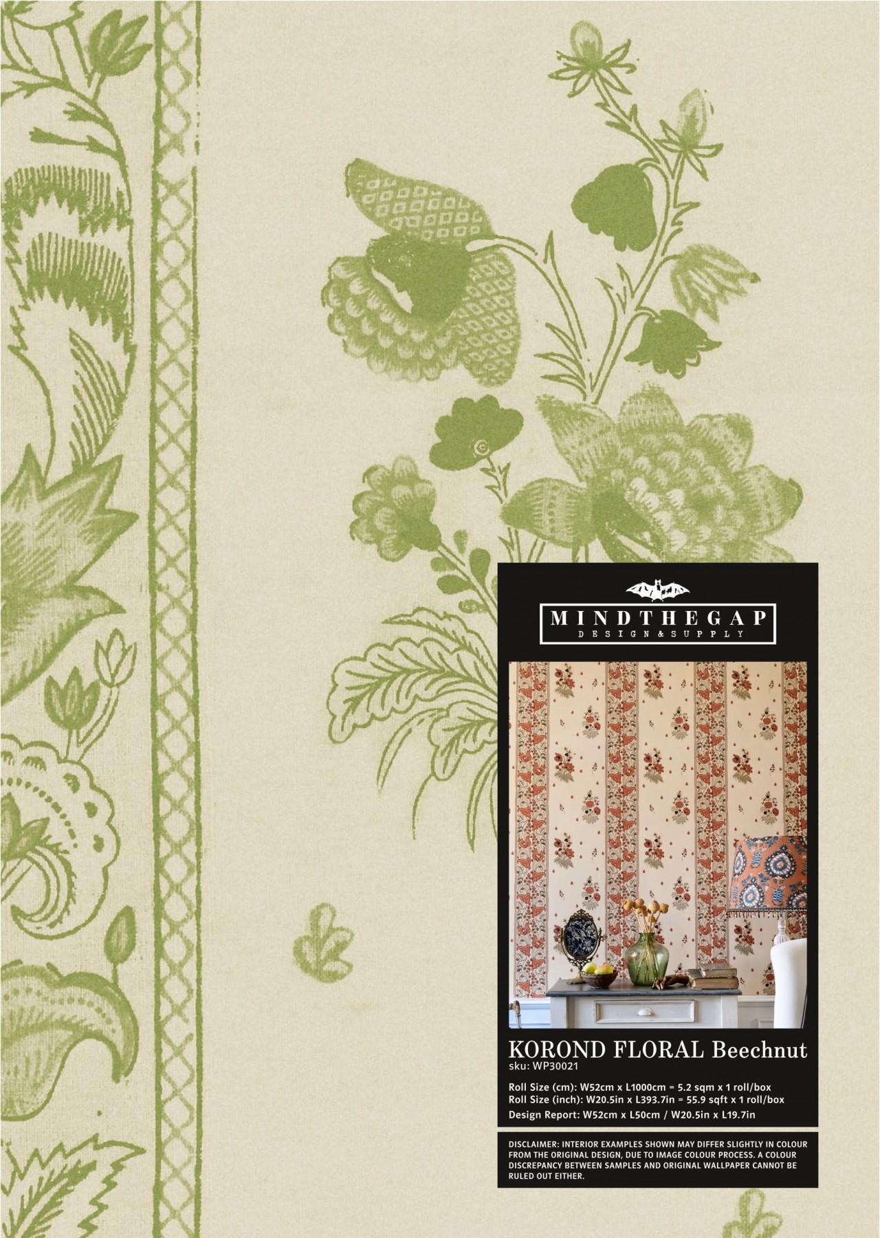 KOROND FLORAL Beechnut Wallpaper Sample