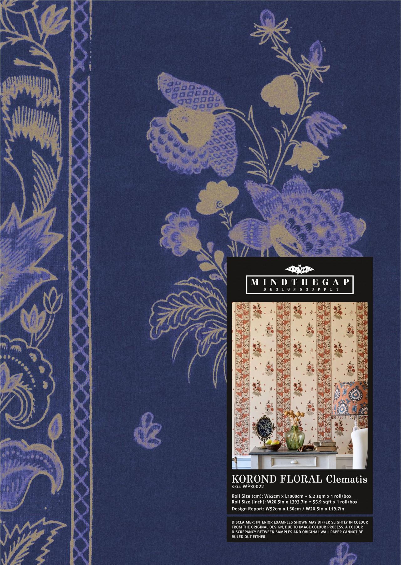 KOROND FLORAL Clematis Wallpaper Sample