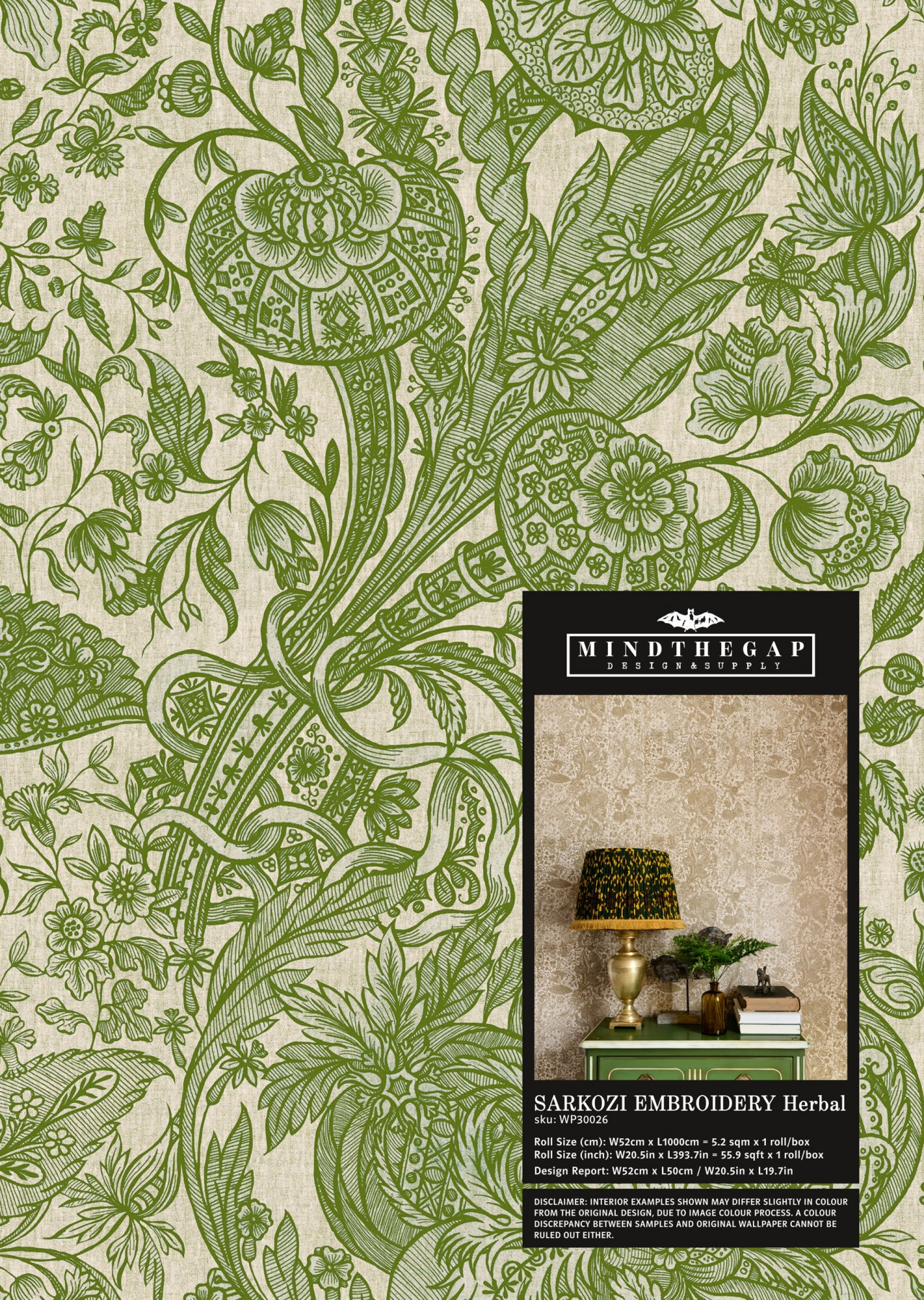 SARKOZI EMBROIDERY Herbal Wallpaper Sample