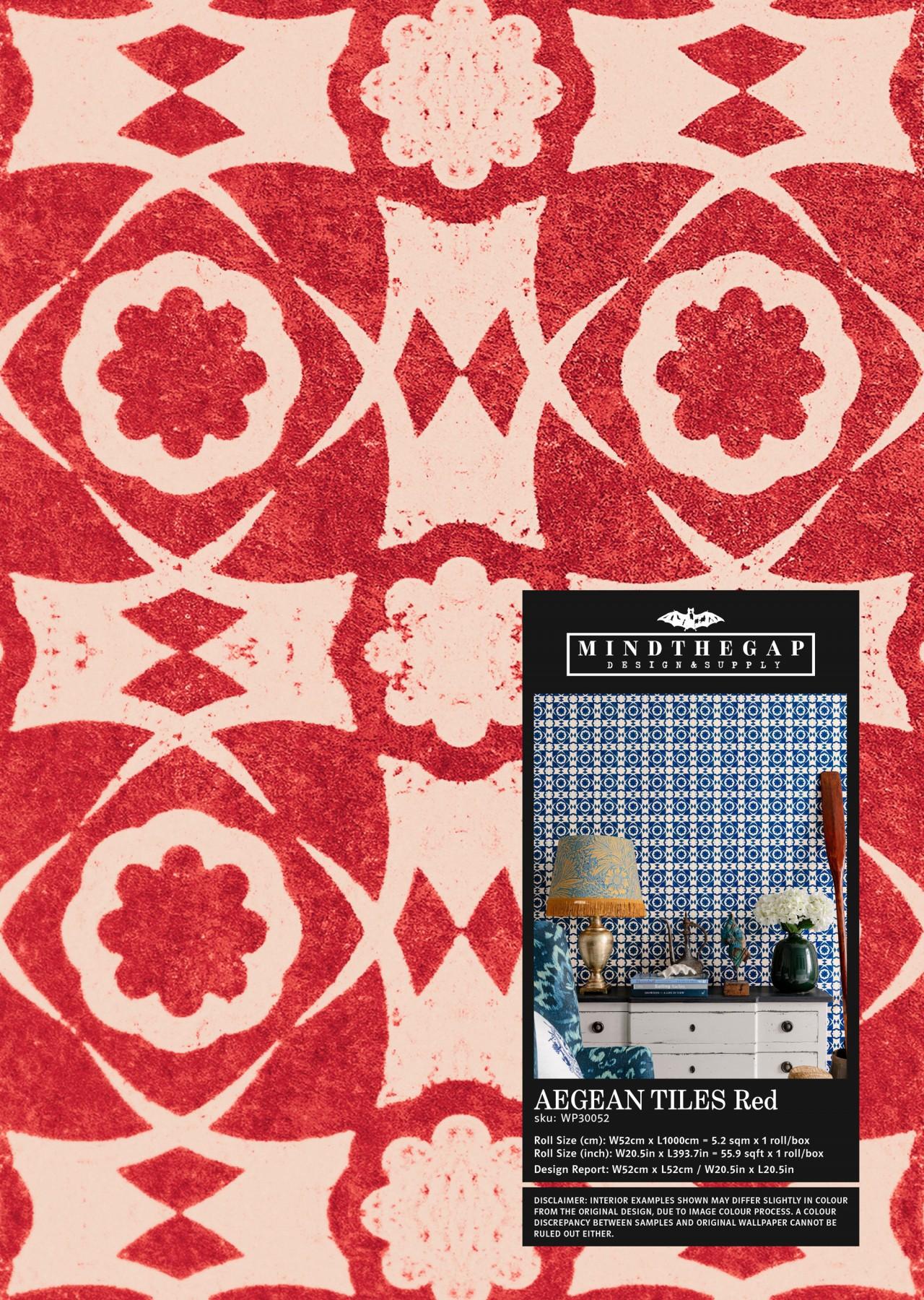 AEGEAN TILES Red Wallpaper Sample