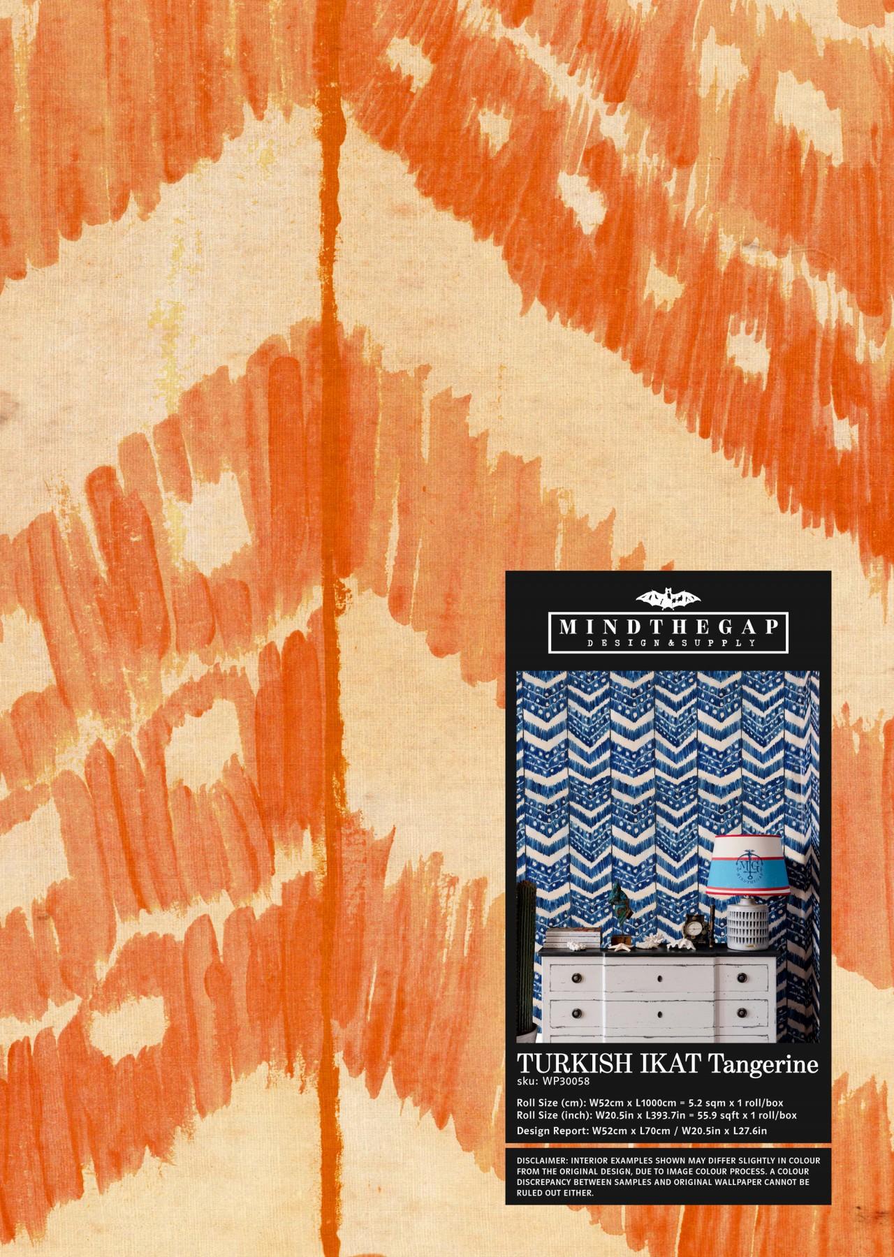 TURKISH IKAT Tangerine Wallpaper Sample
