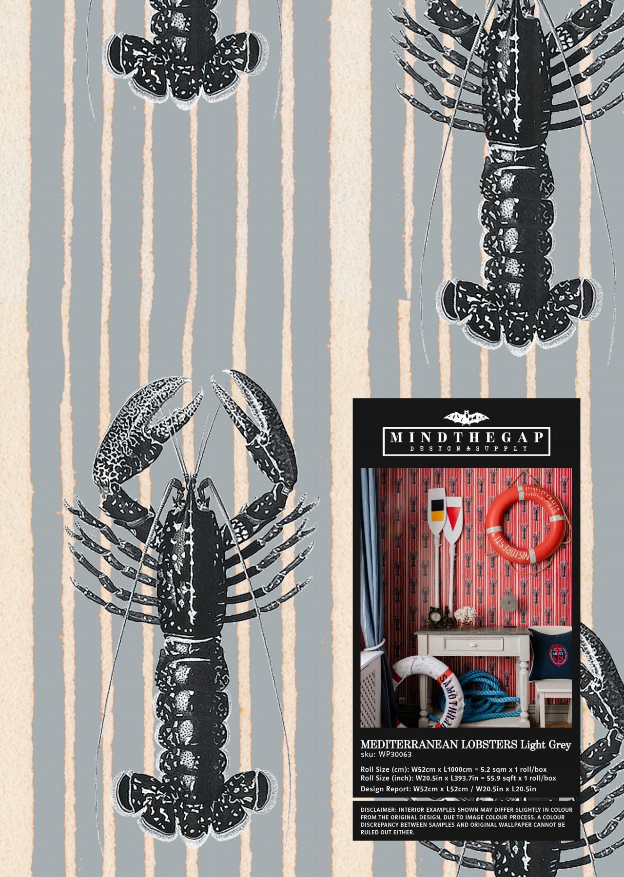 MEDITERRANEAN LOBSTERS Light Grey Wallpaper Sample