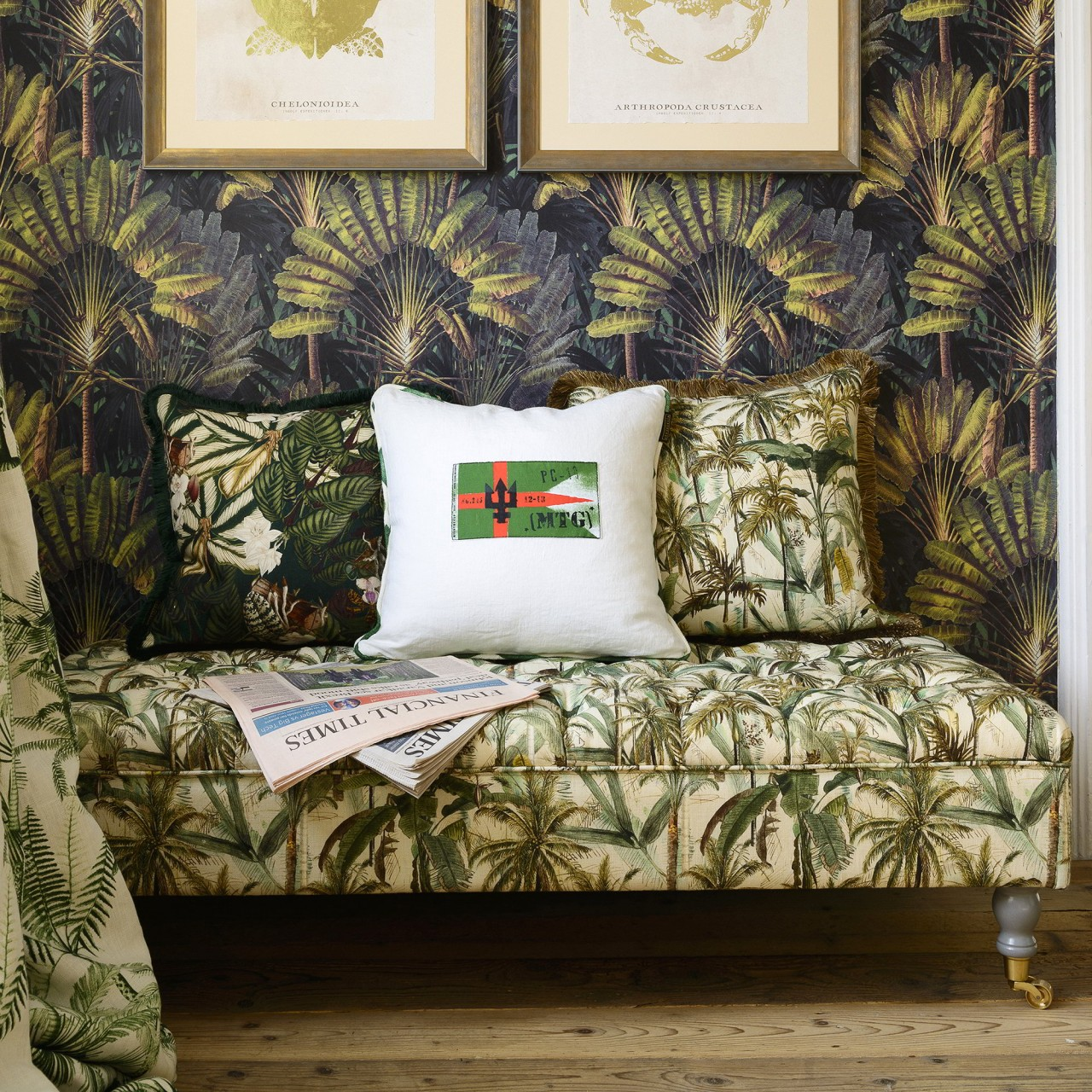 SARAY Ottoman - THE JUNGLE Linen