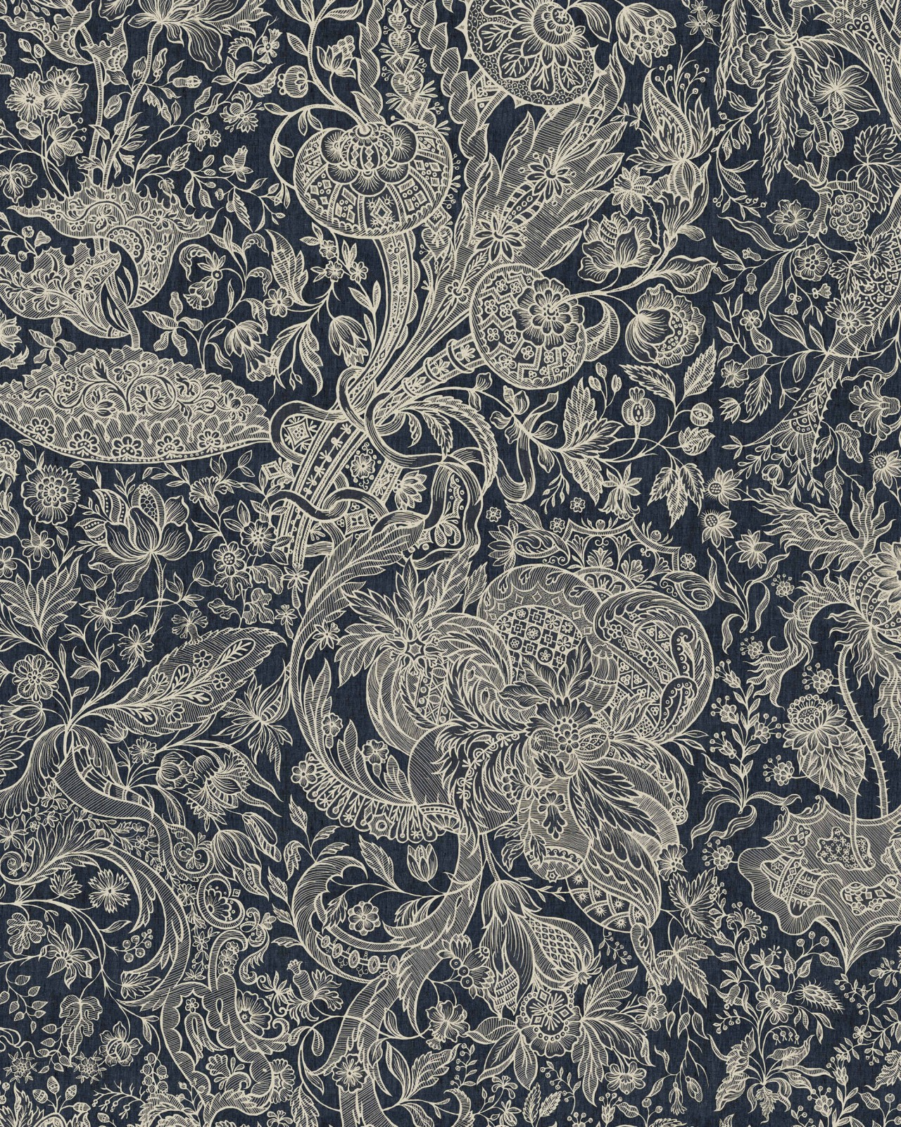 SARKOZI EMBROIDERY Indigo Wallpaper