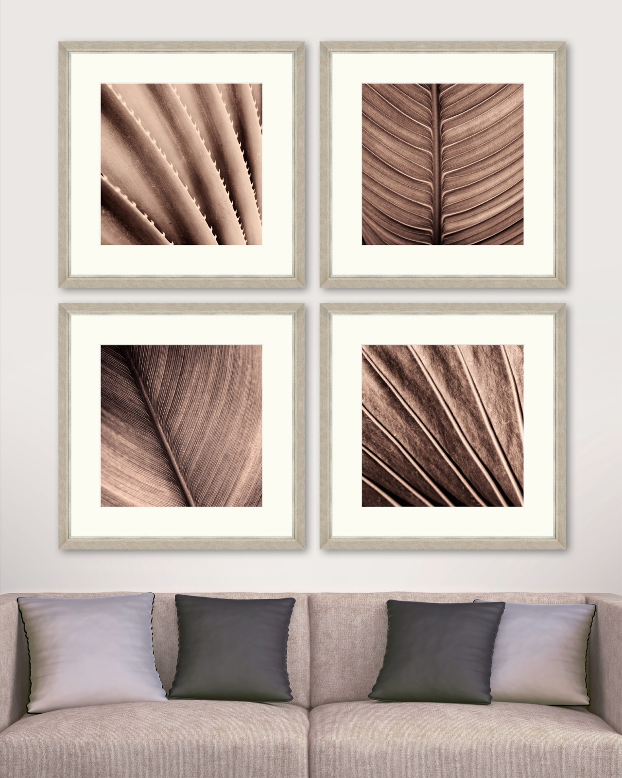SEPIA PALM TEXTURE Set of 4 Framed art