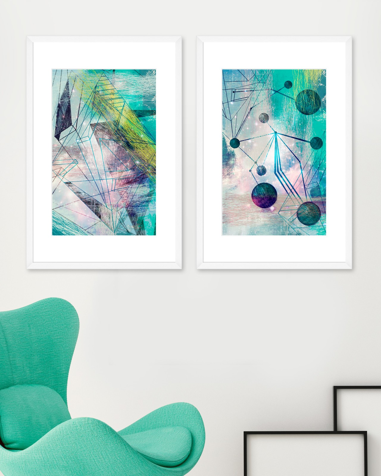 SPACE ABSTRACT Set of 2 Framed art