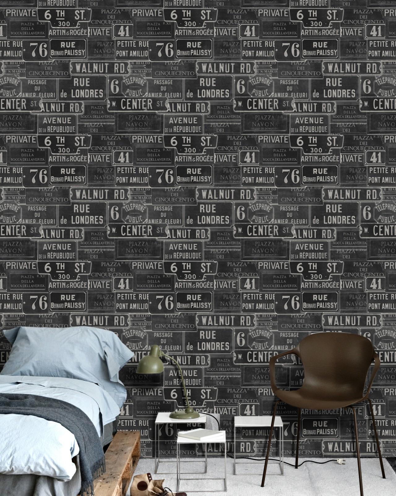 VINTAGE SIGNS Anthracite Premium Wallpaper