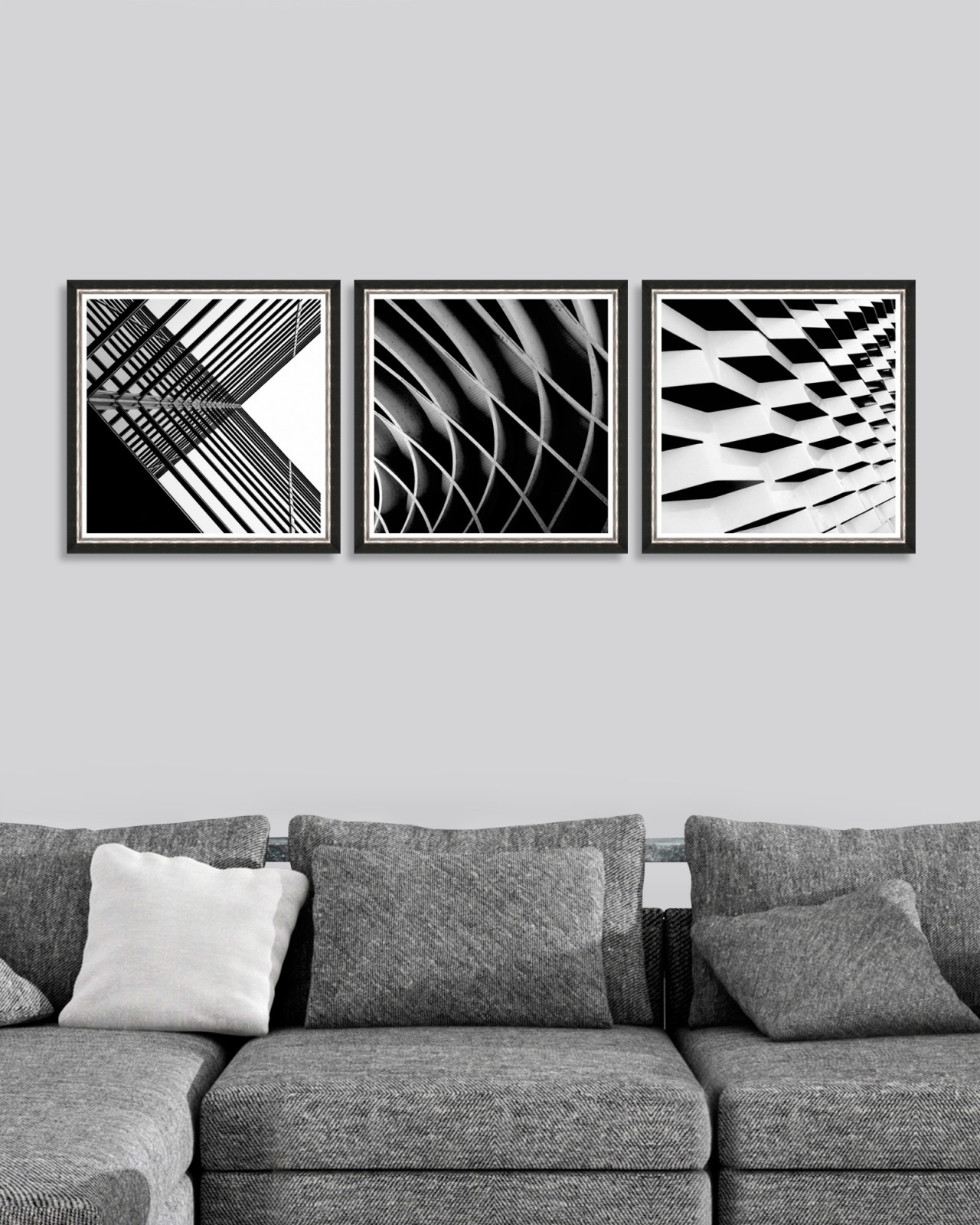 URBAN GEOMETRY Set of 3 Framed art