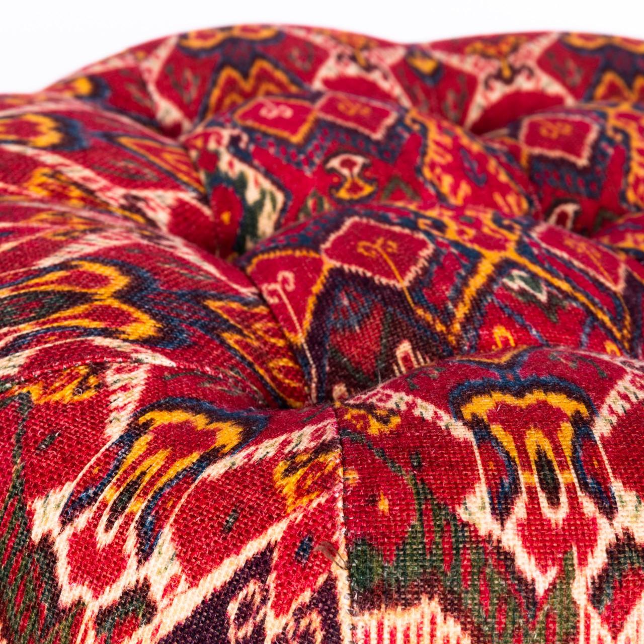 FEZ TUFTED STOOL - Uzbek Ikat Linen