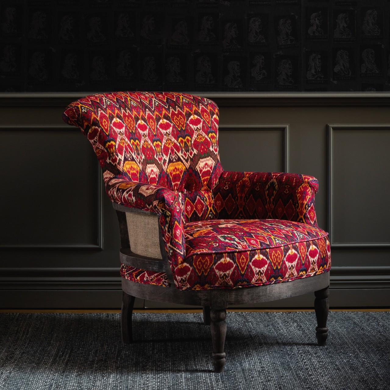 LOUIS Deconstructed Chair - UZBEK IKAT Linen