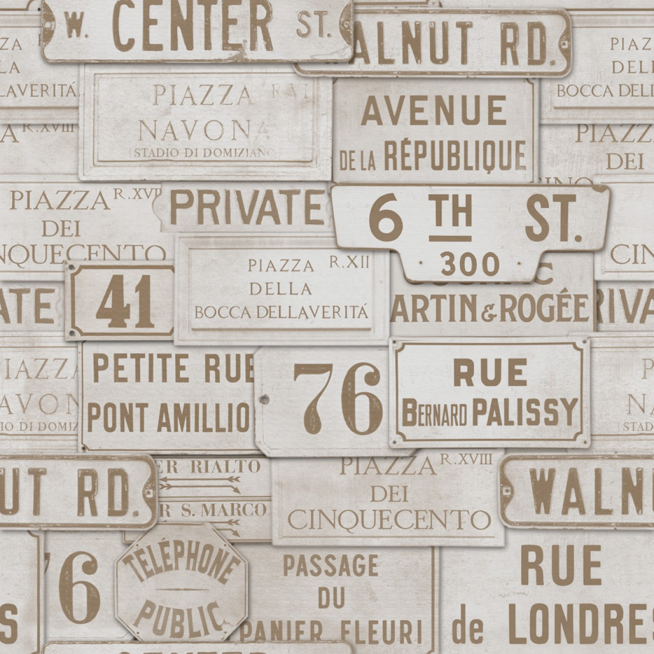 VINTAGE SIGNS Premium Wallpaper