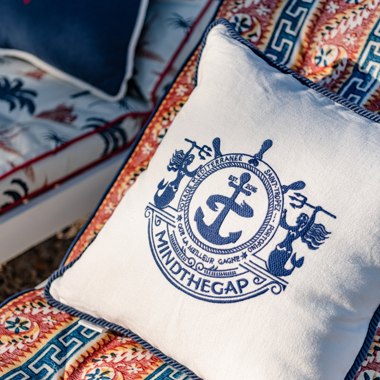 VOYAGE Linen Embroidered Cushion
