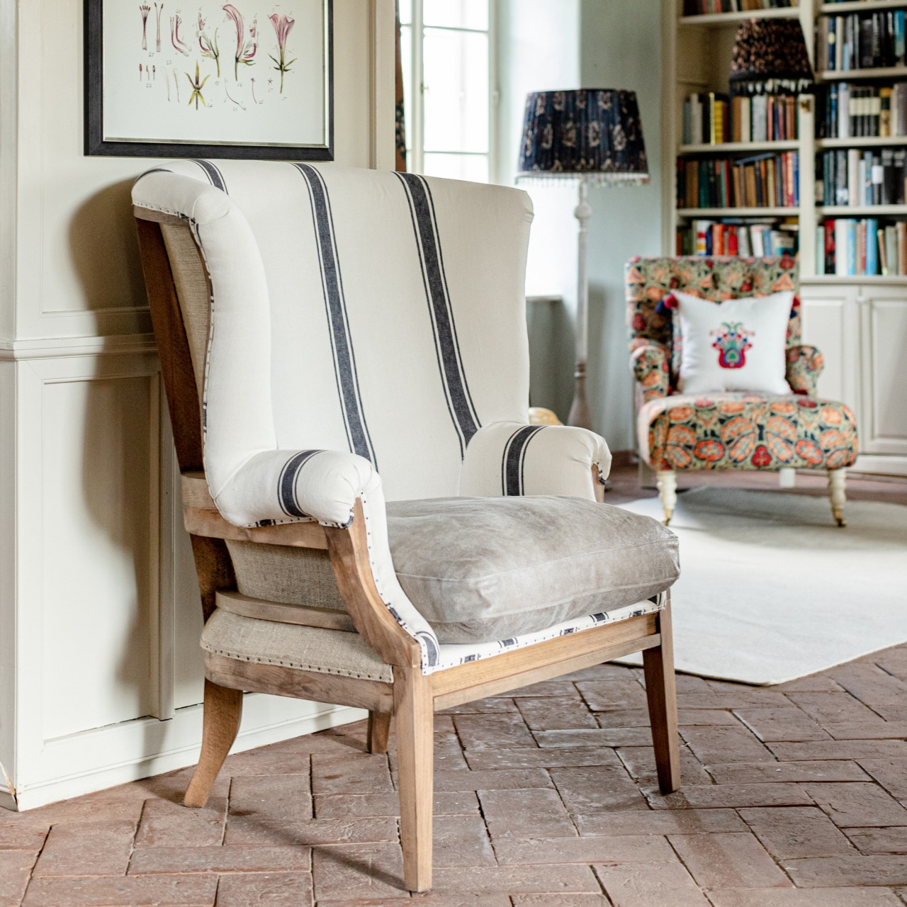 WILLIAM DECONSTRUCTED WING CHAIR - HAJDU STRIPE Heavy Linen