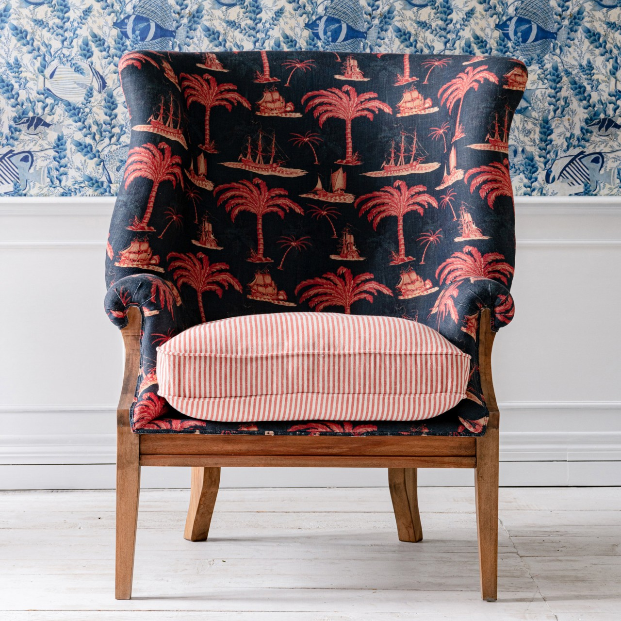 WILLIAM DECONSTRUCTED WING CHAIR - AEGEAN Indigo Fabric and RHUBARB STRIPE Linen
