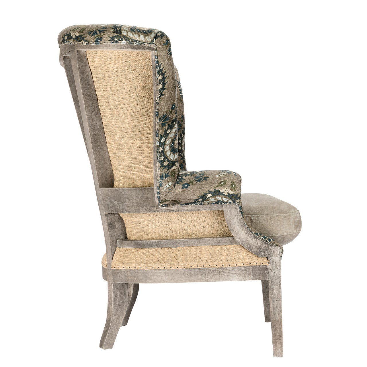 WILLIAM DECONSTRUCTED WING CHAIR - FLOURISH DAPPLE GREY Linen