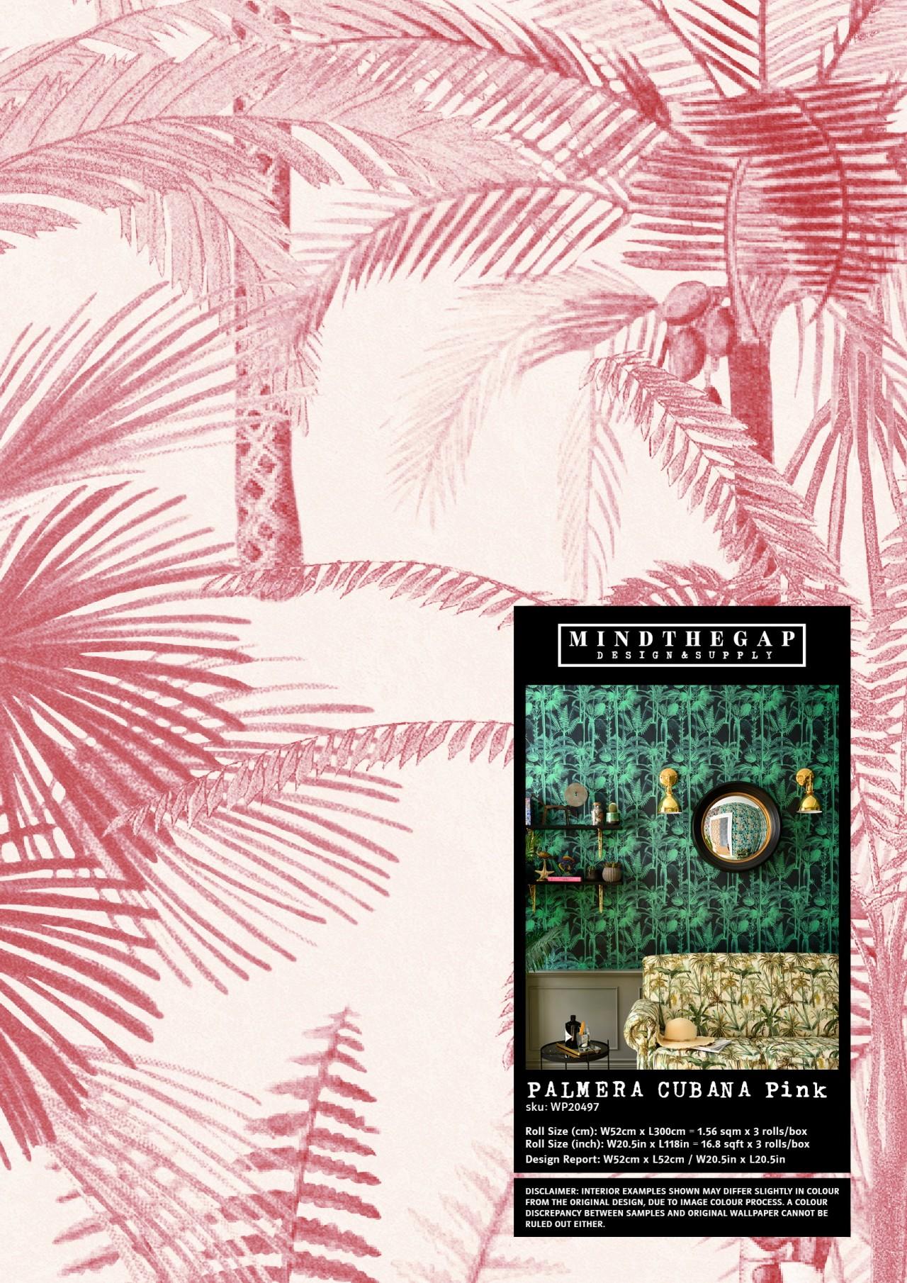 PALMERA CUBANA Pink - Wallpaper Sample