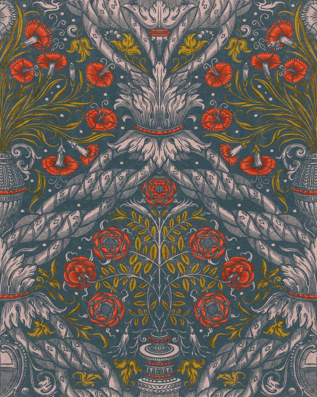 FLORAL ORNAMENT Scarlet Wallpaper