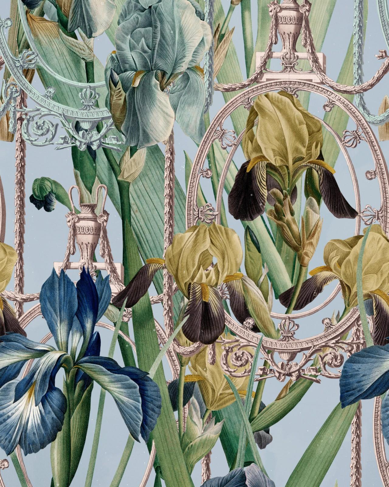 FLEURS D'IRIS Aquamarine Wallpaper