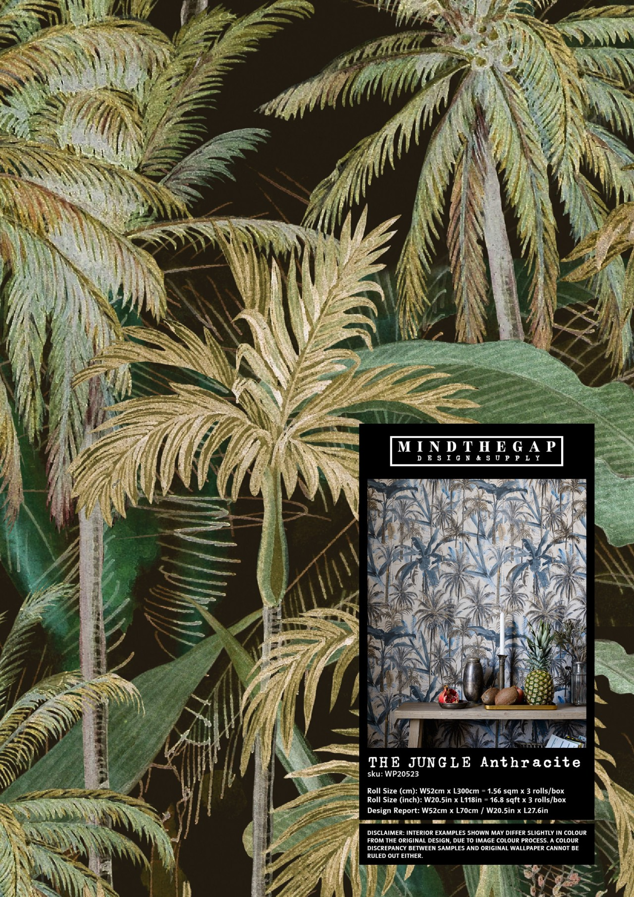 THE JUNGLE Anthracite - Wallpaper Sample