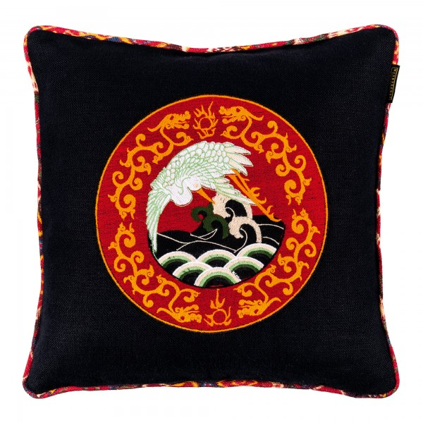 ASIAN CRANE Linen Embroidered Cushion