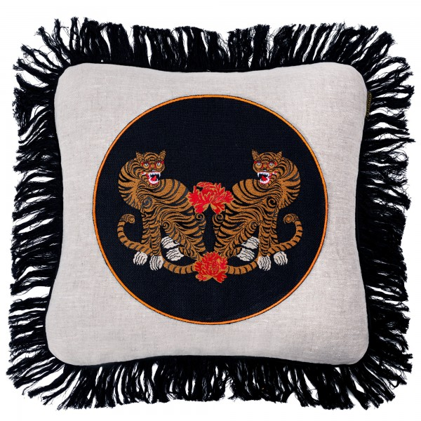 BENGAL TIGERS Linen Embroidered Cushion