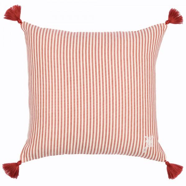 RHUBARB Stripe Heavy Linen Cushion