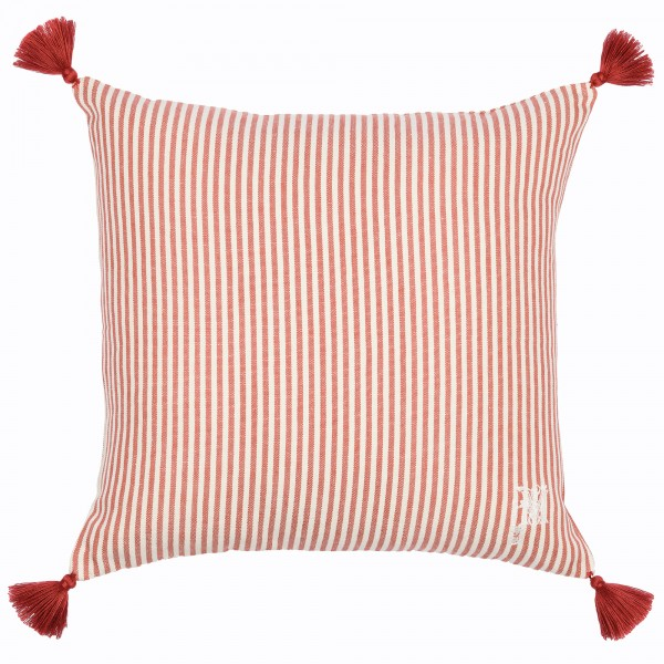 RHUBARB Stripe Heavy Linen Cushion