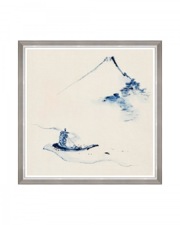 A PERSON IN A SMALL BOAT by Hokusai Framed Art