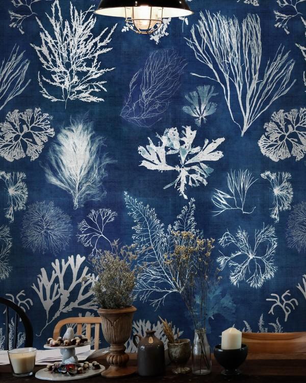 ALGAE Navy Blue Wallpaper