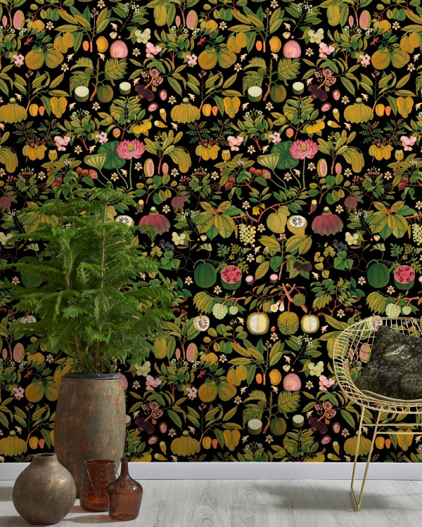 ASIAN FRUITS AND FLOWERS Anthracite Wallpaper