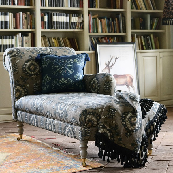 ANATOLIA CHAISE LOUNGE - FLOURISH DAPPLE GREY Linen