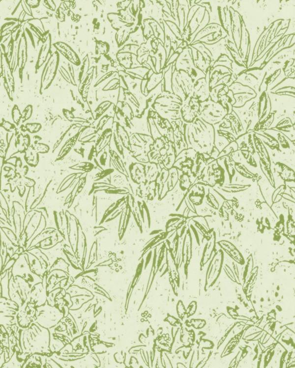 CHERRY ORCHARD Green Wallpaper