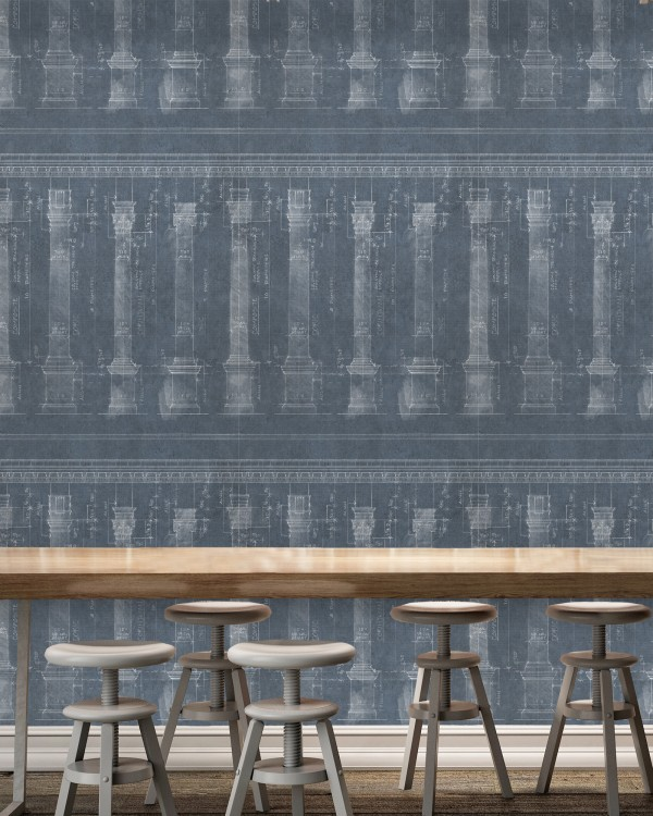 COLONNADE Blue Premium Wallpaper