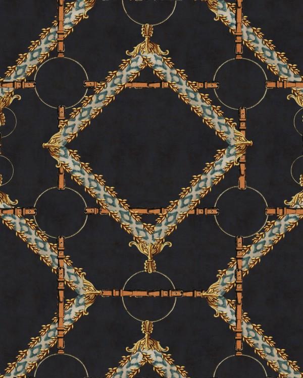 DECORATIVE HARNESS Anthracite Wallpaper